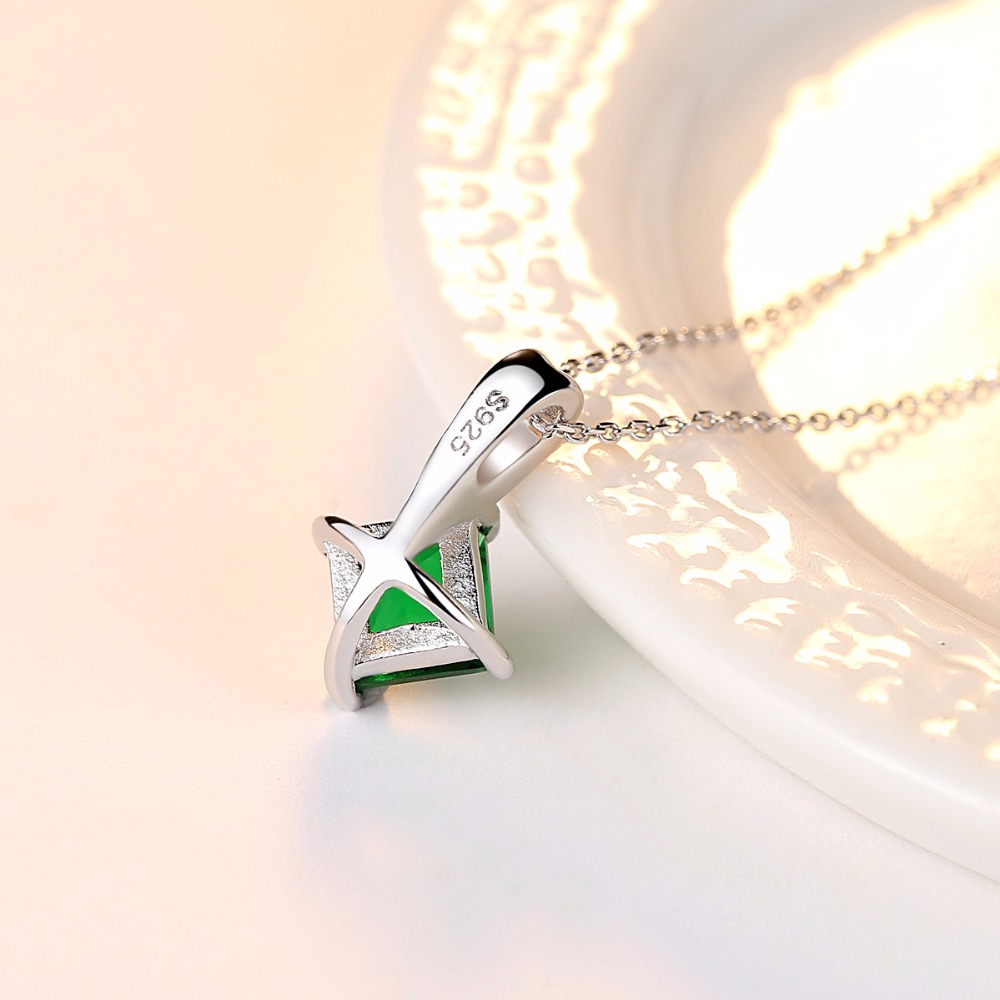 CZCITY Charm Chain Necklace Emerald Green Cubic Zirconia Popular Jewelry 925 Sterling Silver Pendant Necklace for CZCITY Charm Chain Necklace Emerald Green Cubic Zirconia Popular Jewelry 925 Sterling Silver Pendant Necklace for Women Gift