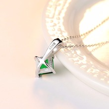 Emerald Green Cubic Zirconia 925 Sterling Silver Pendant Necklace