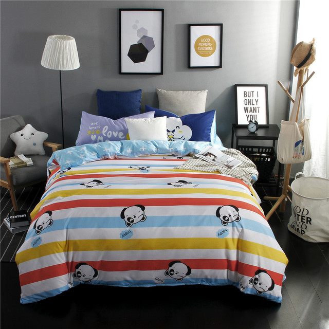 Colorful Stripe Bedding Set Bear Cartoon Duvet Cover Soft Bed Sheet Comfortable Pillow Cases Best Ing Twin Full Queen King