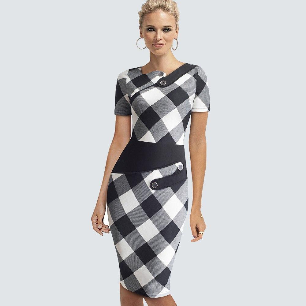 Элегантное платье размера плюс для работы, женское офисное платье в деловом стиле, Повседневная Туника, облегающее платье-футляр, облегающее официальное платье-карандаш, B63 B231 - Цвет: Black White Grid