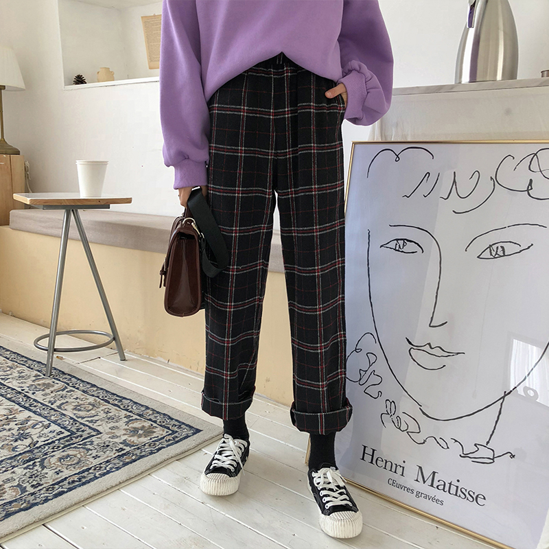 2019 Women'S Korean Kawaii Ulzzang Loose Plaid Wild Plus Velvet Nine   Pants   Casual Students Female Cute Japanese Harajuku