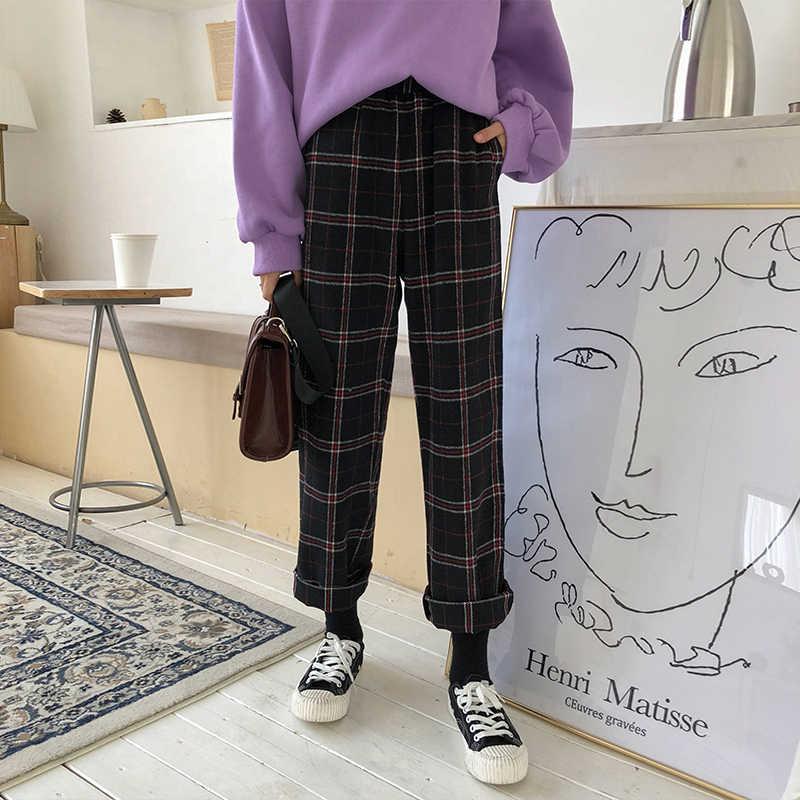 2020 สตรีเกาหลี Kawaii Ulzzang หลวมลายสก๊อต Plus กำมะหยี่เก้ากางเกงนักเรียนหญิงน่ารักญี่ปุ่น Harajuku