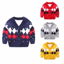 Plaid Baby Boys Sweaters Long Sleeve Newborn Sweaters