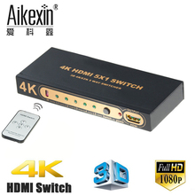 Aikexin 5 Entrada 1 Saída HDMI Switch 4 K, 5 port Switcher HDMI1.4 Hub Box com Controle Remoto IR Suporte 4 K x 2 K 1080 P 5X1 HDMI Adaptador 4 K