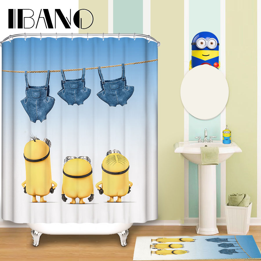 Clear fish shower curtain - Cl Clear Fish Shower Curtain Minions Shower Curtain Pattern Customized Shower Curtain Waterproof Bathroom Fabric