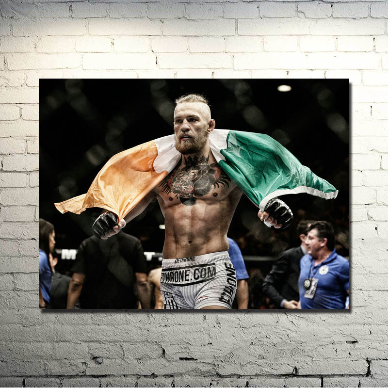UFC Conor McGregor MMA UFC FIGHT BOXING Silke eller Canvas Poster 13x18 32x43 tum bild för vardagsrum Decor -004