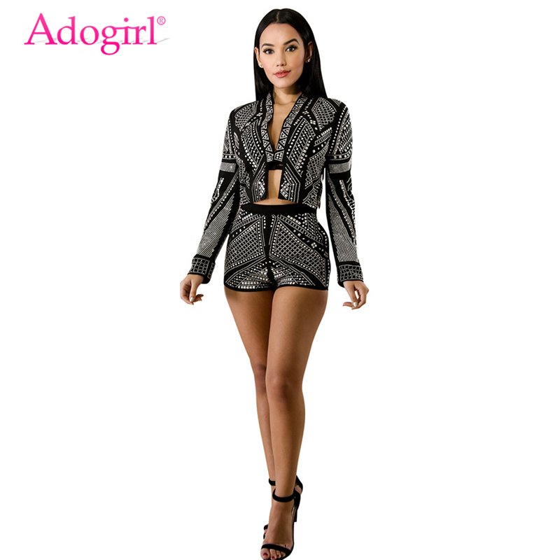 Adogirl Women Fashion Two Piece Set Beaded Crystal Diamonds Long Sleeve Cardigan Jacket Pockets Shorts Night Club Suits Outfits