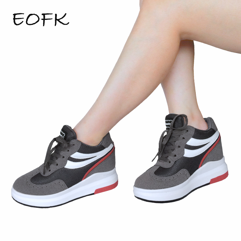 EOFK Women Sneakers Women s Casual Boots Spring Autumn Ankle Boots Height Increasing High Top Patchwork