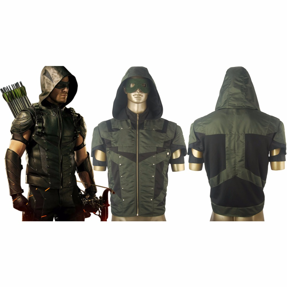 Green Arrow Season 4 Oliver Queen Men Hoodie Jacket Halloween Comic-con Cosplay Costume