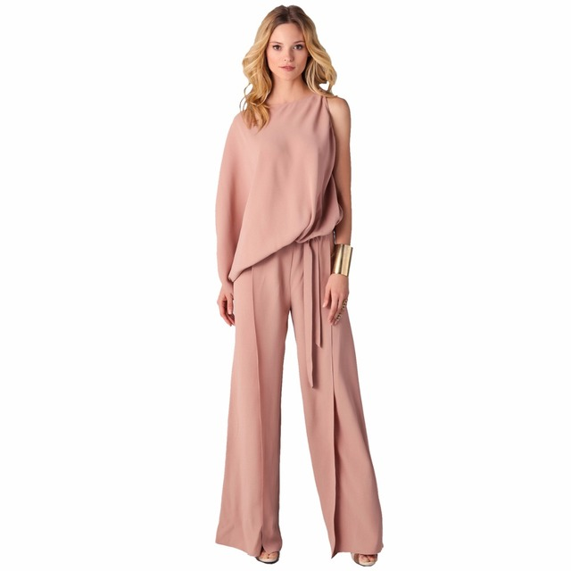 14102911dd11 Elegant One Shoulder Jumpsuit Women Overalls Casual Romper Loose Office  Ladies Wide Leg Jumpsuit Long Pants Plus Size S XXXL-in Jumpsuits from  Women s ...