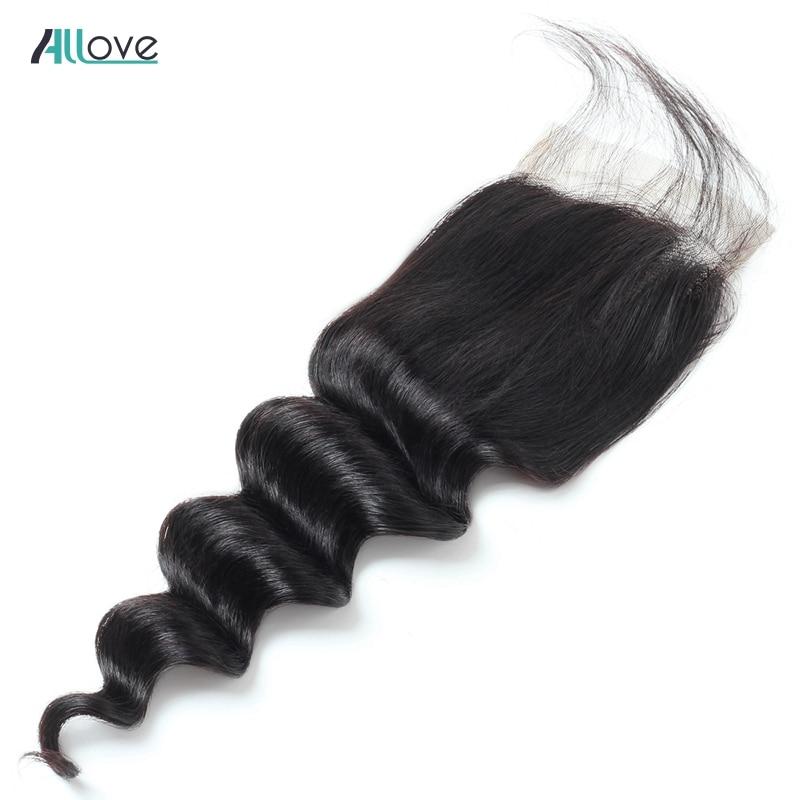 Allove Peruvian Deep Loose Wave Closure 130 Density Natural Color Human Hair Closure Non Remy Middle
