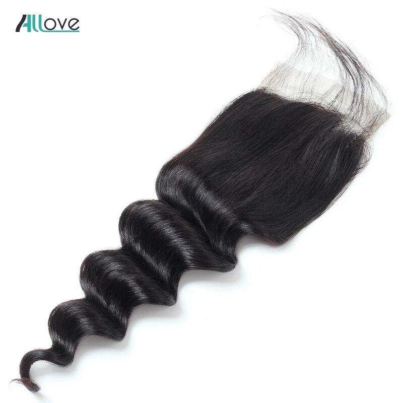 Allove Peruanische Tiefe Lose Welle Verschluss 130% Dichte Natürliche Farbe Menschliches Haar Verschluss Nicht Remy Mittleren/Freies Teil 4*4 verschluss