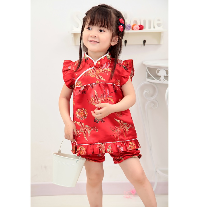 2018 Girls Clothes Suits Chinese Dragon Phoenix Kids Qipao Set New Year Children Birthday Gift Baby Clothing Festive Costumes new phoenix 11207 b777 300er pk gii 1 400 skyteam aviation indonesia commercial jetliners plane model hobby