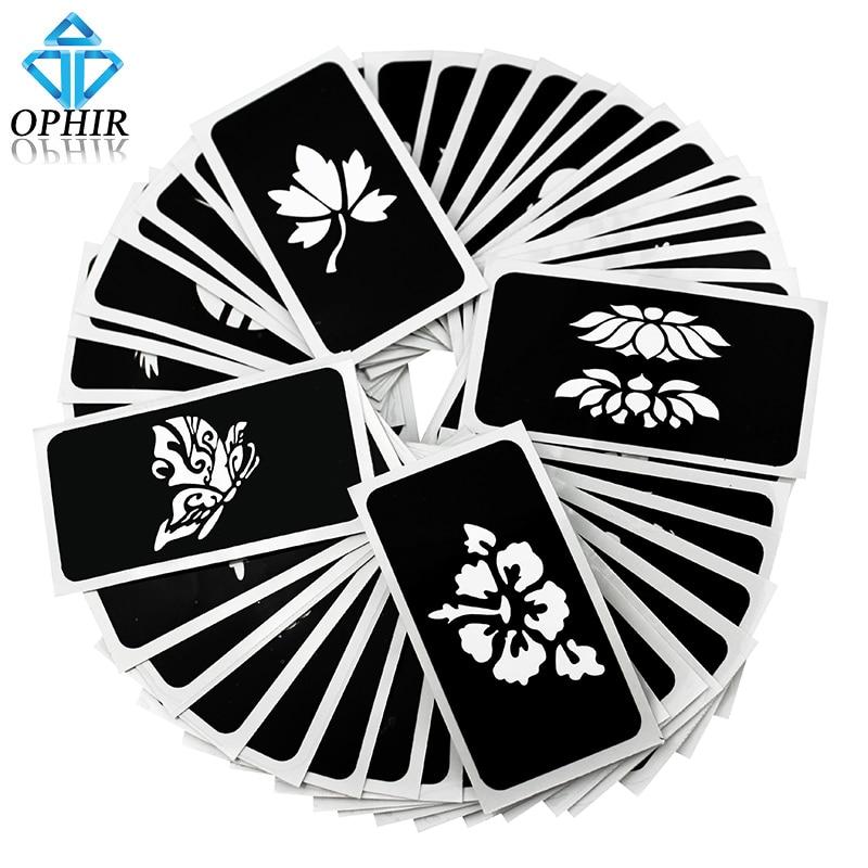 OPHIR 50 개 / 몫 에어 브러쉬 스텐실 (5 시리즈) 바디 페인팅 반짝이 임시 문신 키트 자체 접착 스텐실 _TA032 (A-E)
