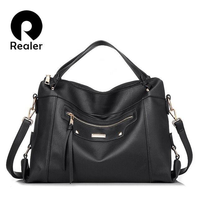 REALER бренд Женская дизайнерская черная/коричневая/серая сумка-мессенджер через плечо высокого качества
