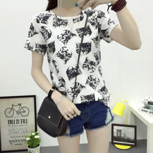 Free Shipping 2016 Summer New Fashion Women T-shirt Korean Sweet Cartoon Cat Printed Ladies Short Sleeve Tops Factory Outlets