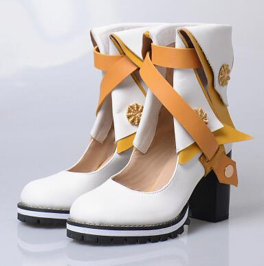 2017 New Fashion Women Blue Yellow Red White Patchwork Round Toe Cuts Out Flower Decoration Rough Heels Mid calf Short Boots