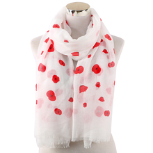 Winfox Female Soft Long Scarves and Wraps Hijab White Pink Red Floral Dot Print Scarf Shawl For Women