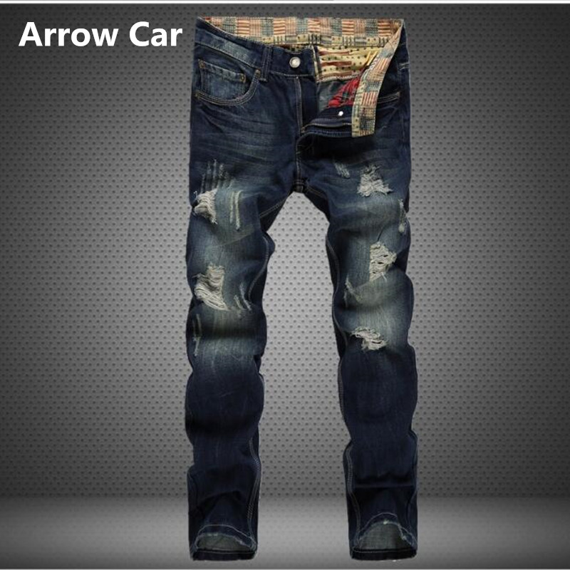 Arrow Car Fashion Brand Mens Jeans Worn Hole Straight Trousers European style Nostalgic Washed Denim Mens J pants