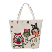 Women Canvas Handbag Embroidery Shoulder Bag Fashion Owl Printing Bag Canvas Simple Casual Tote Bag Canvas