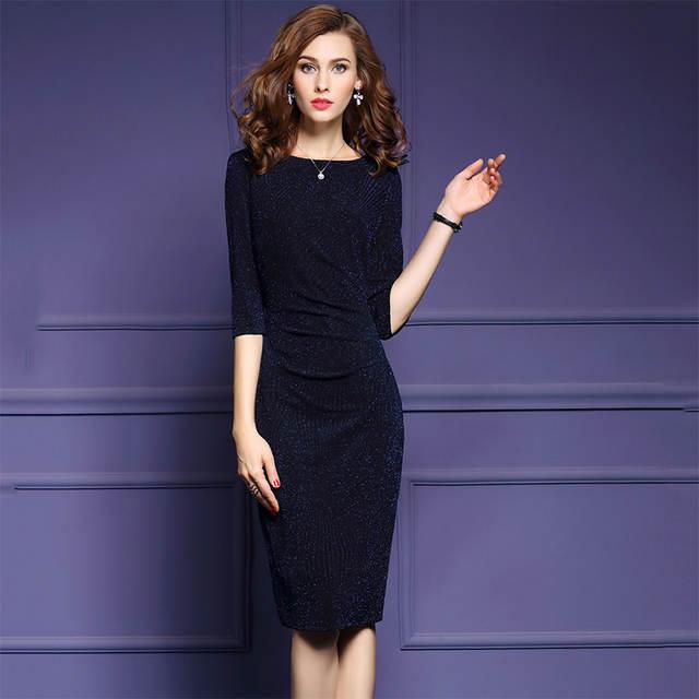2017 Brief Style Women Office Dress Plus Size Half Sleeve Navy Blue Dresses  Lady Elegant Bodycon Work Party Wrap Dress