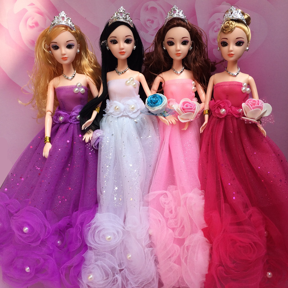 NK One Set 2020 Handmade Dolls Clothes Fashion Design Lace Wedding Dress Party Gown For Barbie Dolls Best toys Gift JJ image