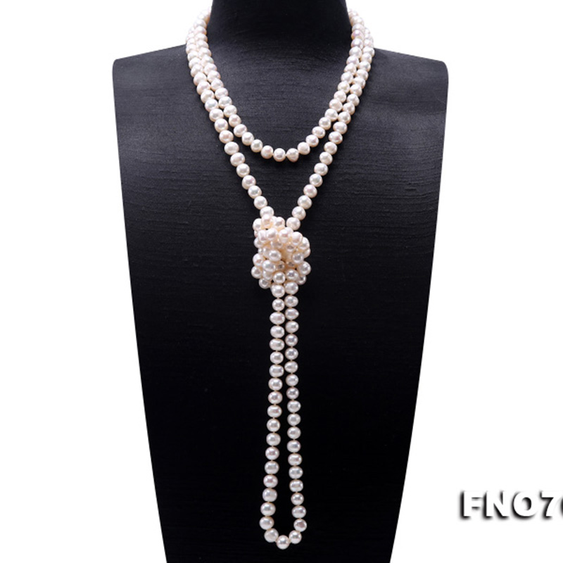 Image 3 - JYX Pearl Sweater Necklaces Long Round Natural White 8 9mm Natural Freshwater Pearl Necklace Endless charm necklace 328sale-in Necklaces from Jewelry & Accessories