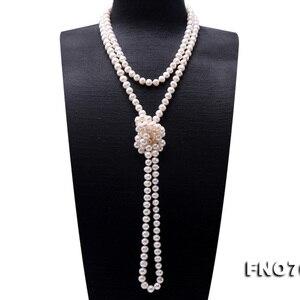 Image 3 - Ожерелье JYX из жемчуга на свитере, длинное круглое ожерелье из натурального пресноводного жемчуга 8 9 мм, ожерелье с бесконечным шармом, распродажа 328