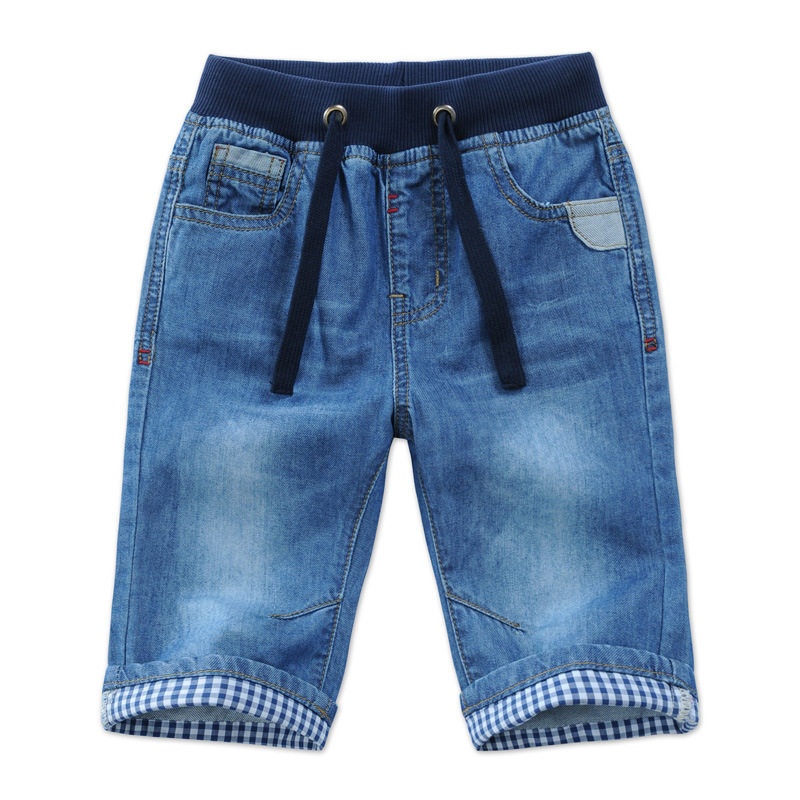 2018 New Kids Boys Denim Shorts Summer Toddler Clothing Boys Casual Solid Soft Cotton Jeans Shorts For Baby Boys 2-13Y DQ301 kids pineapple print tee with rolled hem shorts