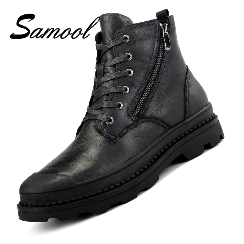все цены на SAMOOL Winter Mens High-Top Ankle Boots Comfortable High Quality Lace Up Male Casual Shoes Plus Velvet Warm Boots Big Size Lx5