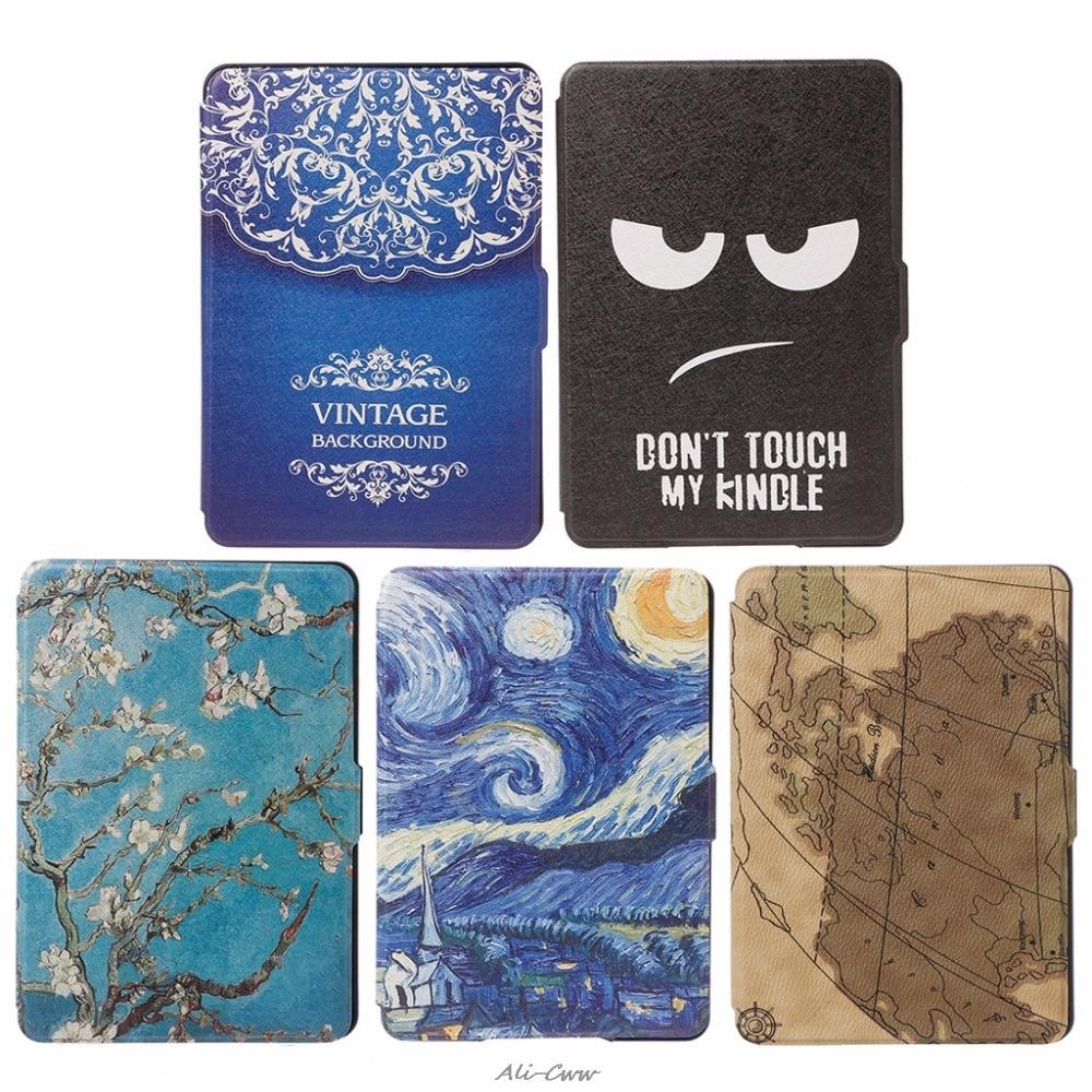 1Pc Slim Faux Leather Folio Flip Case Protective Shell Skin Cover Auto Sleep/Wake For Amazon Kindle Paperwhite 1/2/3 6 Inch