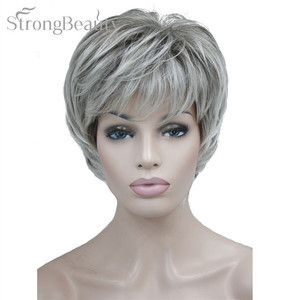 Image 4 - Strong Beauty Female Wigs Synthetic Short Body Wave Blonde Silver Brown Wig For Black Women