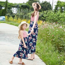 Mom and me family matching mother daughter striped patchwork dresses mom dress kids parent child outfits clothes