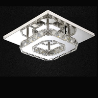 Modern Square Crystal Stainless Steel LED Ceiling Light/Lamp Lustre Luminaria for Home Kitchen Balcony Aisle Corridor Fixtures