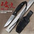 CPM M390 couteau en acier lame fixe fibre de carbone pure couteau droit 60 HRC haute dureté en plein air survie camping couteaux outils|Couteaux| |  -