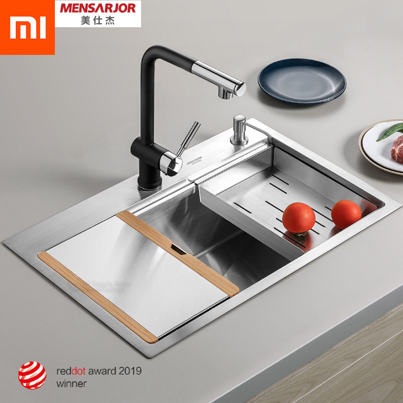 Xiaomi Mijia Youpin Kitchen Multi-function Combination Hand-made Sink 50L Stainless Steel Sink With Chopping Board Drain Basket