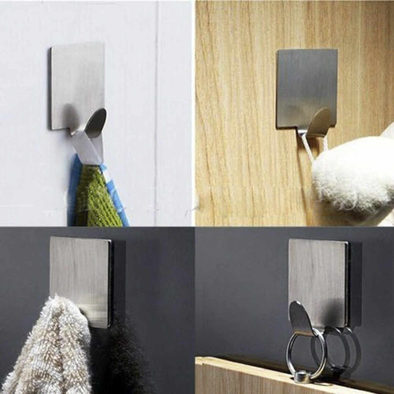 6Pcs Self-adhesive อะไหล่ในครัวเรือนผนังห้องครัวสแตนเลสตะขอแขวนที่สมบูรณ์แบบสำหรับผนังห้องน้ำสะดวก