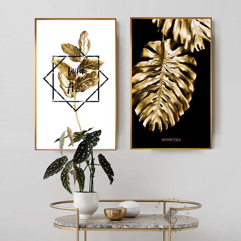 Black And Gold Pineapple Monstera Plant Painting Large Leaf Poster Print Wall Art For Living Room Aisle Unique Modern Decoration