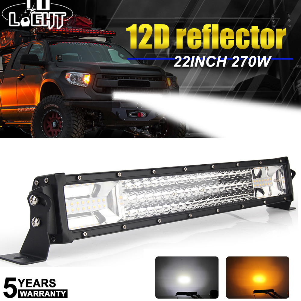 CO LIGHT 3-Row 22 LED Light Bar 12D 270W Strobe Flashing LED Work Light Bar 12V for 4WD 4x4 Truck SUV ATV Boat Offroad Led Bar 234w 78 high power cree led work light bar 35 inches led light bar for truck boat atv suv 4wd