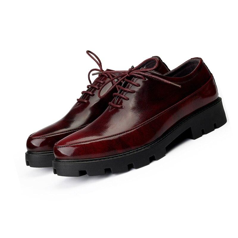 Vestido prata Preto Aumento Grosso Couro Homens Estilo Formal Sapatas ouro vermelho Fundo Sapatos Casamento Luxo Cm Alta De 8 Moda Dourado Bussiness Masculina Britânico p8Hgw