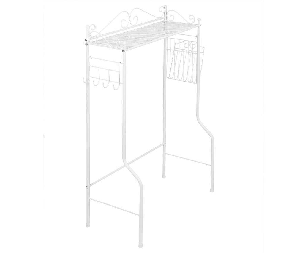 HLC Freestanding Bathroom Metal Shelf Storage Space Saver Over Toilet With  Magazine Basket Multi Purpose Organizer Rack White In Storage Holders U0026  Racks ...