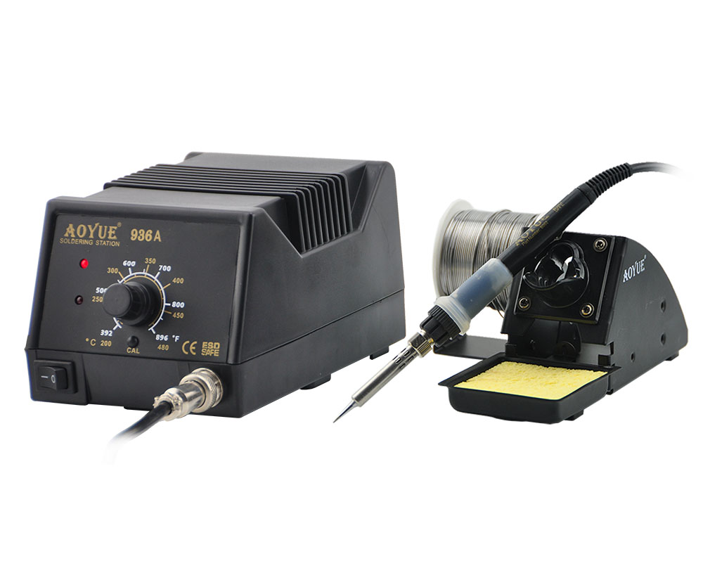 ESD high quality Aoyue 936A Soldering Station AOYUE 936A welding sets Thermostat thermostat electric iron 60W high power solderi 936a 70w lead free thermostat soldering station soldering tools anti static industrial electric iron welding station