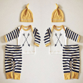 Fashion Newborn Outfits Baby Boy Clothes Boys Set 3PCS Hats Arrow Striped T shirts Long Pants Infant Suits Boys Clothing