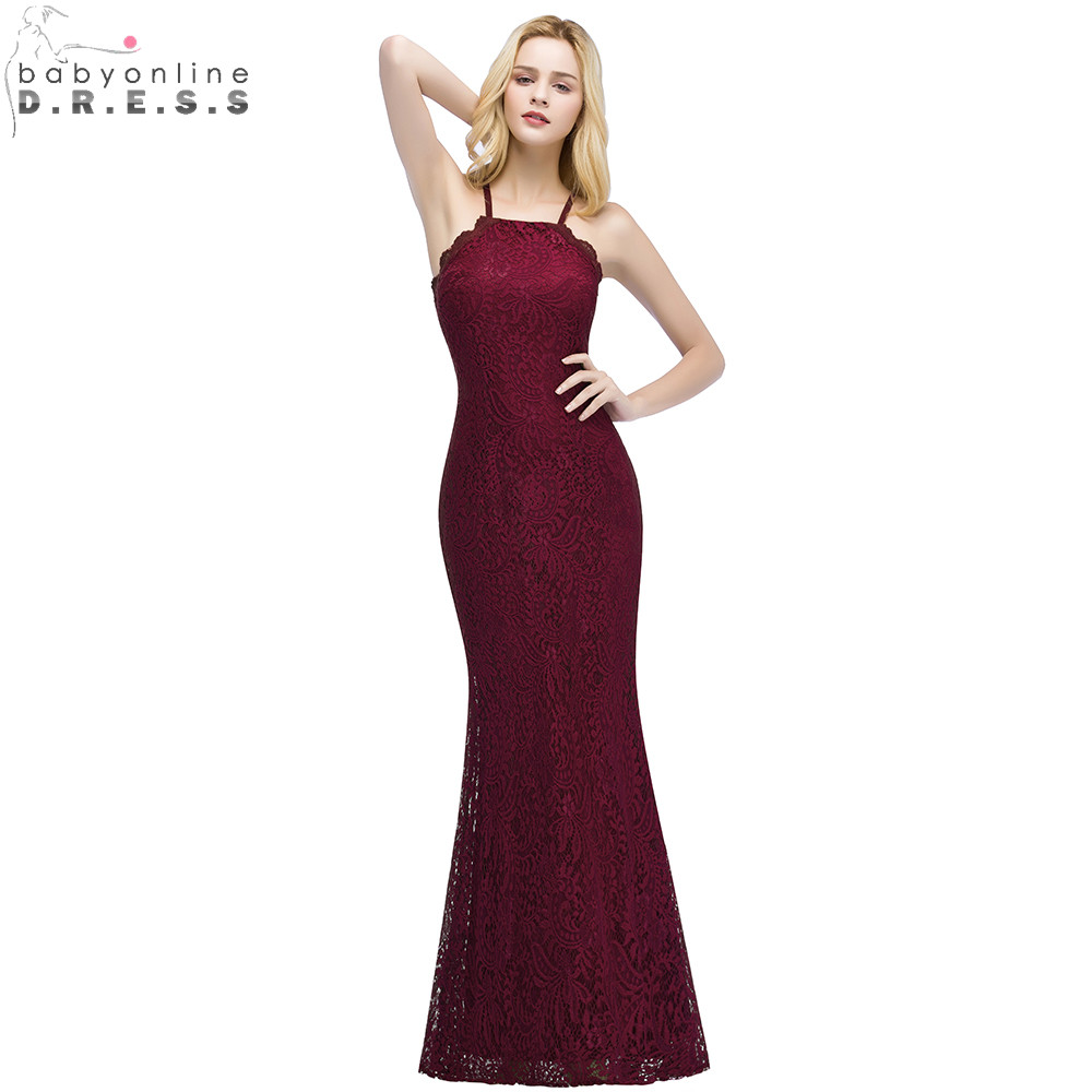 Babyonlinedress New Burgundy Lace Mermaid   Prom     Dresses   Long Sexy Backless Party   Dresses   with Criss-Cross Spaghetti Strap