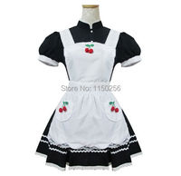 Sexy Girls Lolita Kawaii Maid Costume Cherry Flower Halloween Cosplay Uniform Outfit New Free Shipping