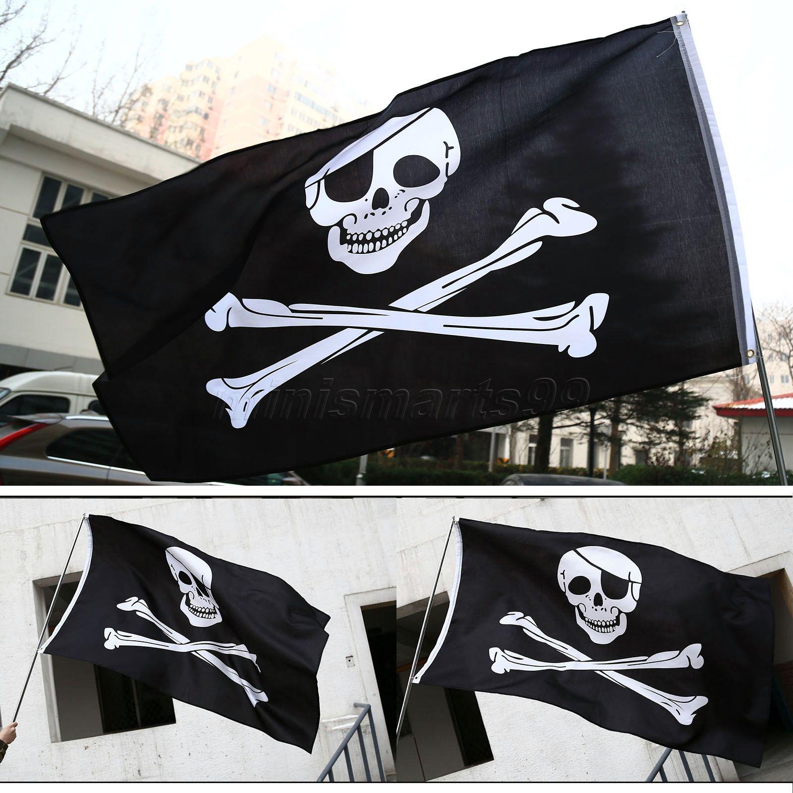 Immagini Di Teschio Pirati us $3.29 5% di sconto|5x3ft bandiere pirata teschio e ossa incrociate jolly  roger pirati bandiere di partito striscione appeso bandiera pubblicità