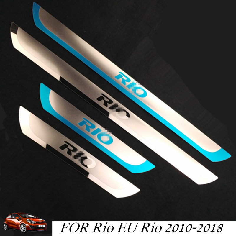 RIO Stainless Steel Scuff Plate Door Sill Car Door Sill Protective Cover For KIA RIO K2 XLINE 2014-2019
