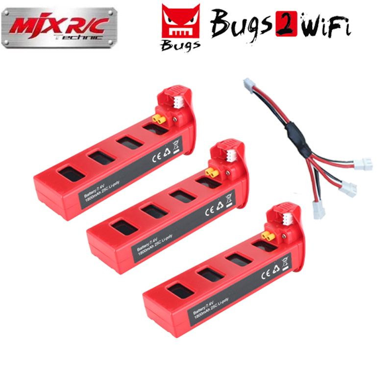 Original MJX Bugs2 Battery 7.4V 1800mAh 25C Li-po battery for MJX B2W B2C Brushless RC Quadcopter Drone Spare Parts Battery mjx квадрокоптер на радиоуправлении bugs 2