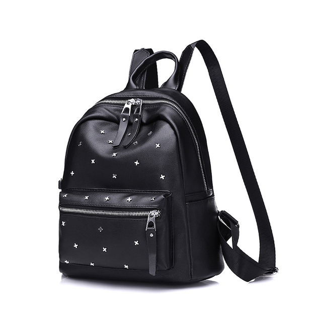 Fashion Black Women s Backpack Casual PU Leather Studded Backpack School Bag  for Teen Girls High Quality 19557e73eee81