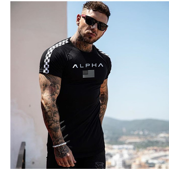 2019 Fashion stitching T Shirt Men Cotton Breathable Mens Short Sleeve Fitness t-shirt Crossfit Gyms Tee Tight Casual Summer Top